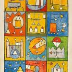 (1994) Dotze estadis dels camins del sojorn lluminós - Mixed media on board - 195x130