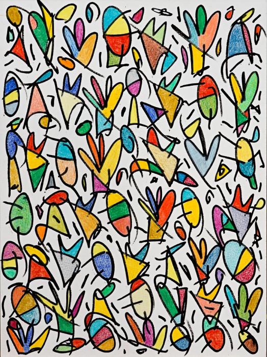 A banda i banda del Riu, creix l'Arbre de la Vida (2014) - Uniposca, Matite Colorate sobre paper- 32 x 24
